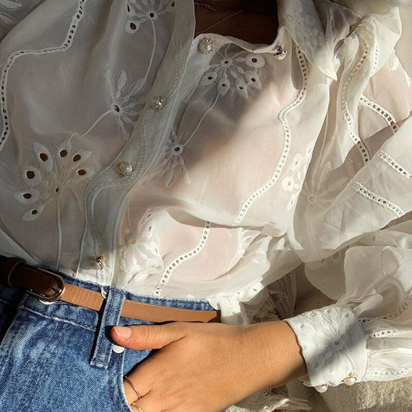 cotton white long sleeve perforated pattern blouses