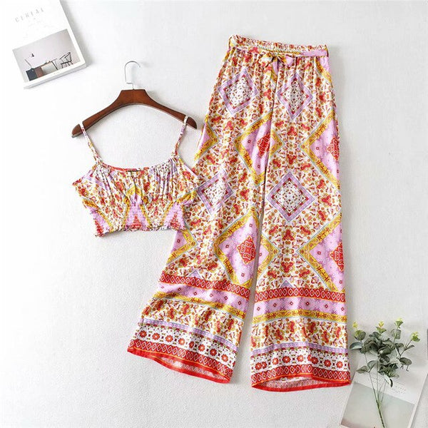 Floral Print 2 Piece Set Summer Beach Boho Casual 2020 Women Sets