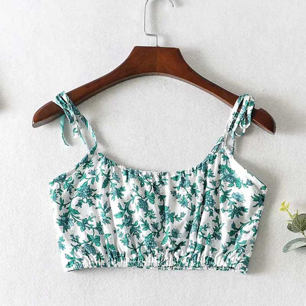 2 pieces set women green floral dress