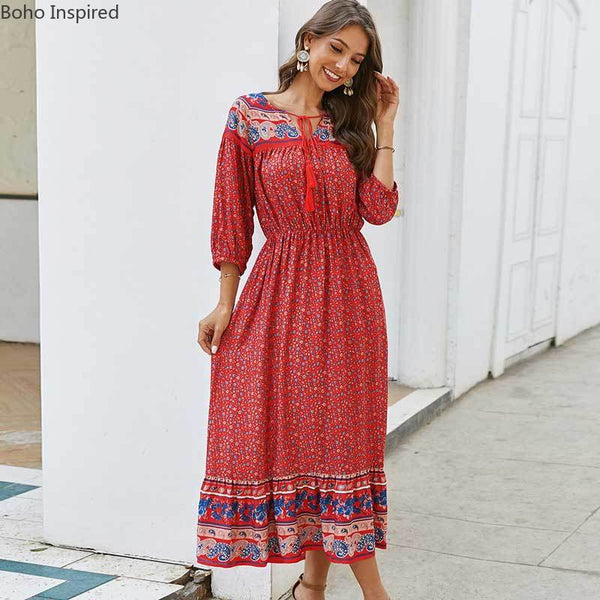 floral print long boho dress 2020 new summer bohemian dress