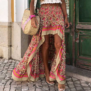 Boho Style Skirts Women Irregular Maxi  Red Cotton Skirts