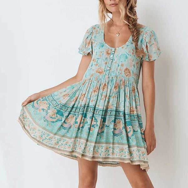 Women turquoise mini boho dress