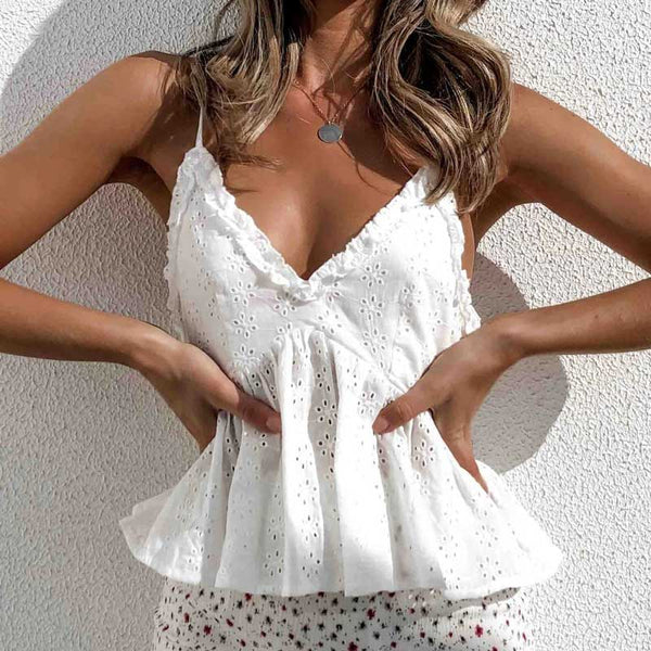 eyelet cotton v-neck ruffle tops