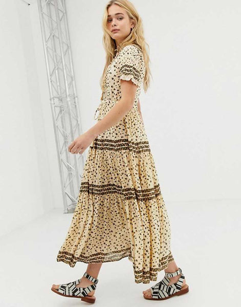 floral summer tiered pleated ruffled trim boho dress