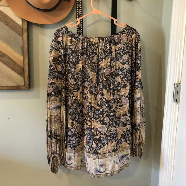 Blouse keyhole back buttons long sleeve floral print rayon blusa tops
