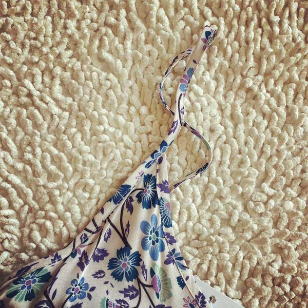 blue floral print sleeveless straps dress