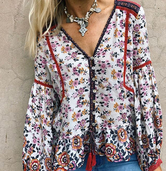 Women Floral Print Buttons V-neck Tassel Boho  Long Sleeve Blouse