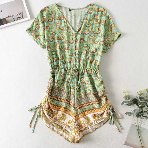 floral print romper adjustable tie green V-neck boho jumpsuits