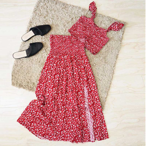 2 piece set women red floral print set