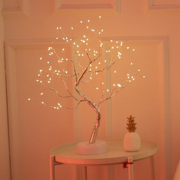 Mini Christmas Tree Copper Wire LED Night Light Garland Lamp For Home Decoration
