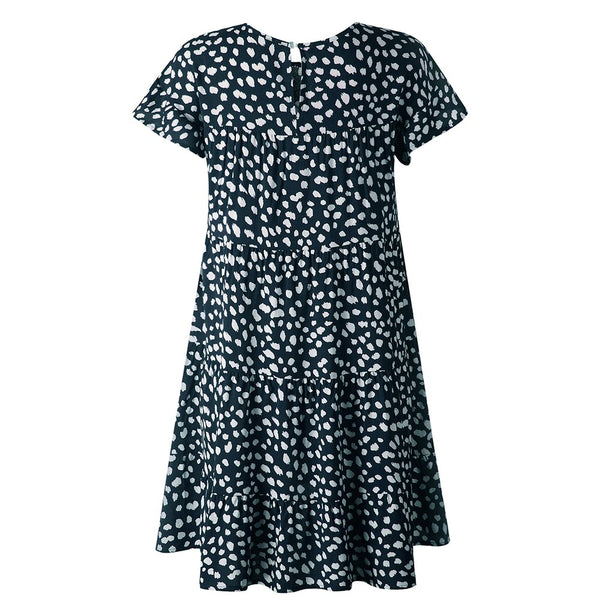 Women Summer Flower Leopard Short-Sleeved Casual Loose Dress