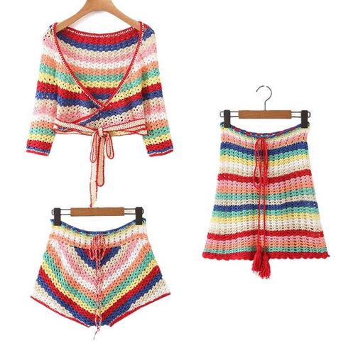 rainbow knit bohemian women drawstring waist shorts