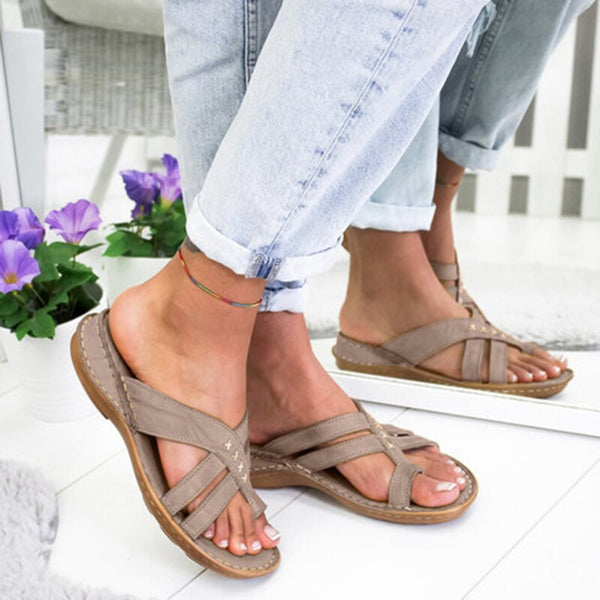 Summer Casual Comfy Toe Ring Criss-Cross Sandals Shoes