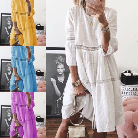 Solid Color Round Neck Hollow Out Summer Loose Dress