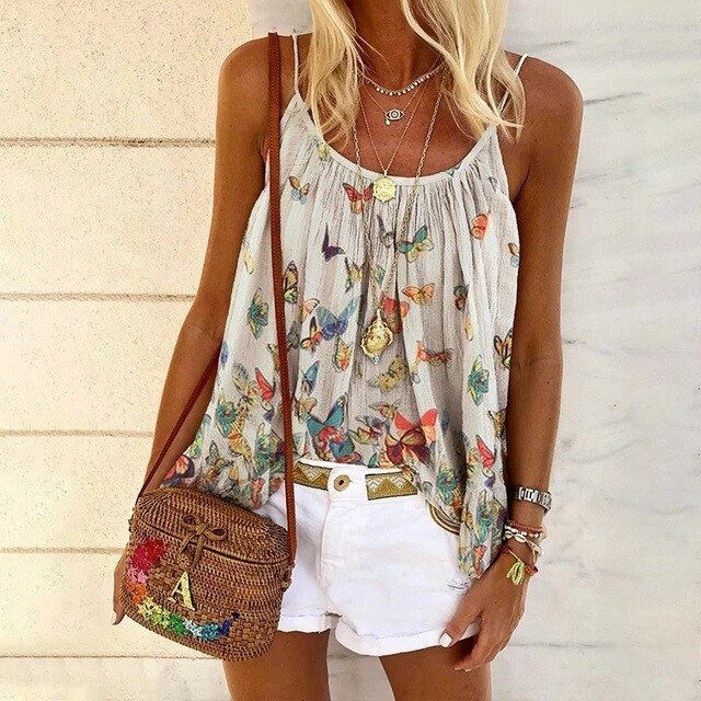 Summer Butterfly Print Women Tops