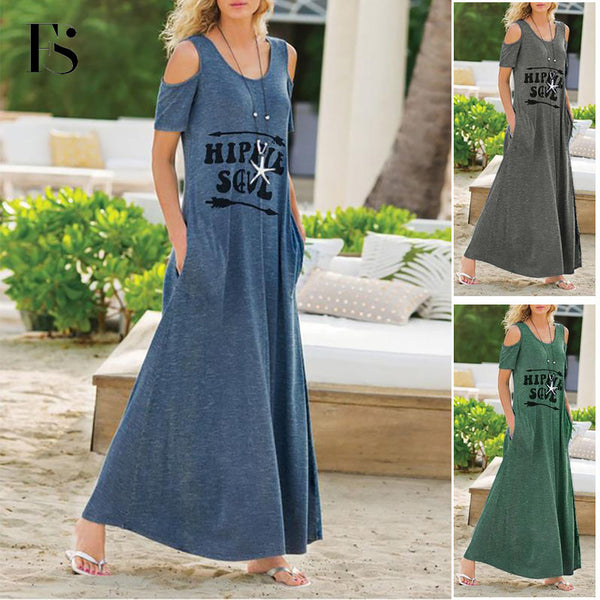 2020 Street Fashion Letter Printing Round Neck Short Sleeve Pocket Dress