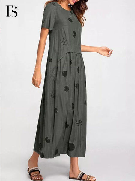 2020 Loose Round Neck Polka Dot Print Solid Dress