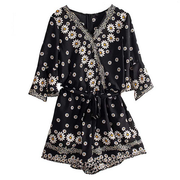 black daisy floral women V-neck playsuits jumpsuits cute