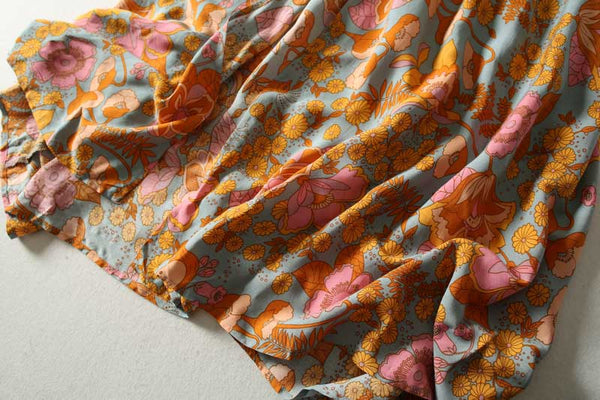 Ruffles orange Floral summer Bohemian Dress