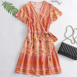 orange floral tied waist V-neck cute women dress