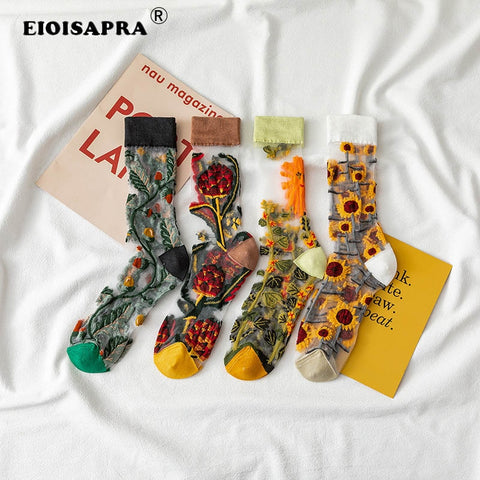 Creative Harajuku Crystal Silk Tide  Funny Sunflowers Vines Flowers Socks