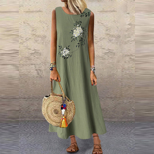 Women Summer Sleeveless Vintage Floral Printed Maxi Dress