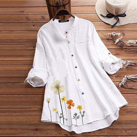 Casual Floral Printed Linen Stand Collar Blouses