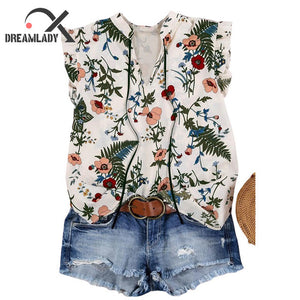 Floral Ruffled V-Neck  Sleeveless Women Tank