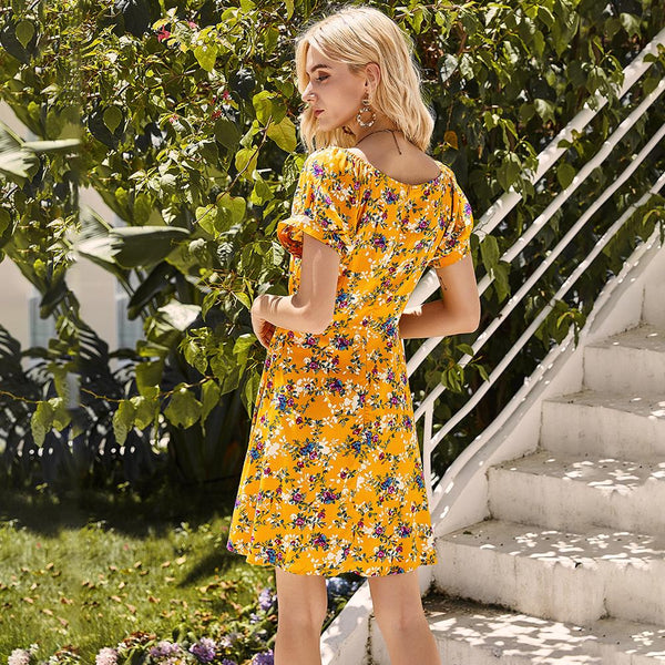 Woman Summer Casual Yellow Flower Floral Dress