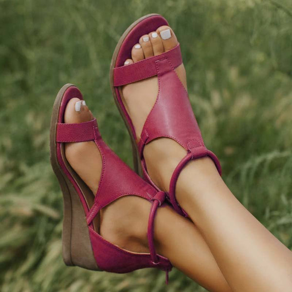 Women Wide Width Casual Comfy Wedge Leather Sandals