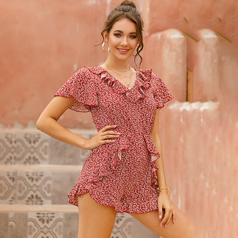 Womens Summer Floral Ruffle Rompers