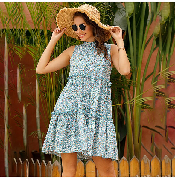 Women Flower Floral Ruched Tank Dresses