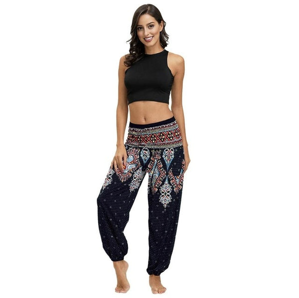 Fashionlinna Bohemian Loose Casual Hippy Trousers Baggy Aladdin Harem Pant