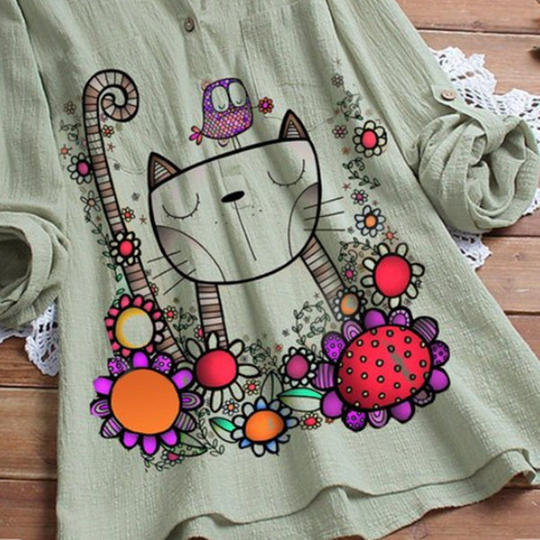 Women Stand Collar Solid Color Cat Print Loose Blouses