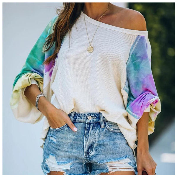 Off Shoulder Solid Color Long Sleeve  Loose Tops