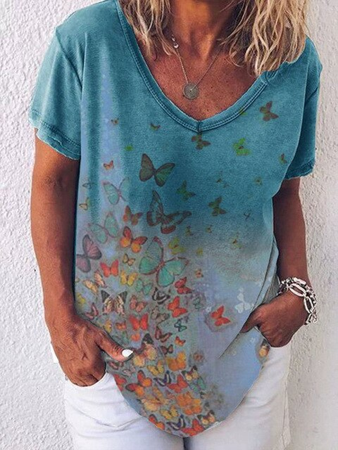 Casual V Neck Butterfly Print Women T-shirt