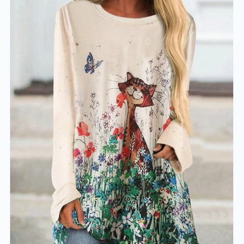 2020 Autumn Cat Print Long Sleeve O Neck Women T-shirt