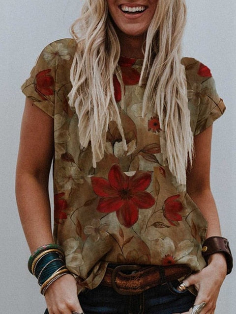 Women Floral Print O Neck Casual Tops