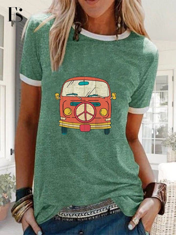 Women Casual O-neck Bus Print Solid Color T-shirt
