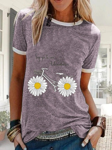 Summer O Neck Daisy Print Short Sleeve T-shirt