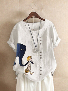 Vintage Cartoon Print Cotton O Neck Loose T-shirt