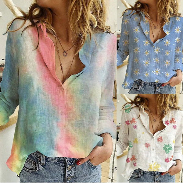 Floral Print Button Down Blouses
