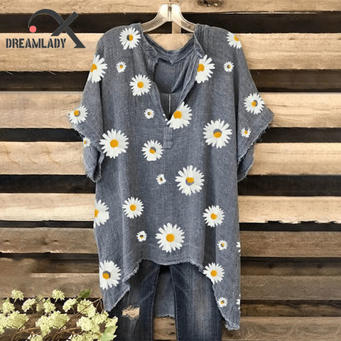 Women Chrysanthemum Printed Linen Casual Plus Size Summer Short Sleeve Tops