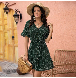 Summer Casual Floral Polka Dot Flare Sleeve Dress