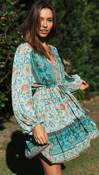 women  turquoise long sleeve V-neck bohemian dress
