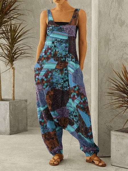 Women Fashion Summer Harem Overall Vintage Sleeveless Straps Jumpsuit