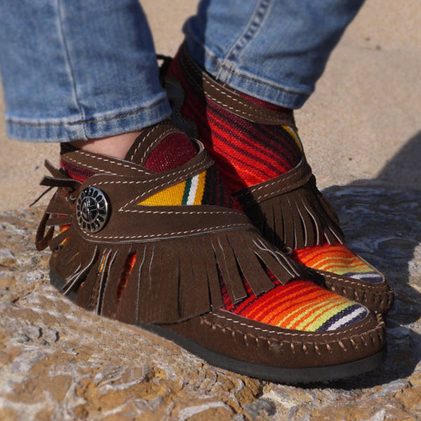 Woman Colorful Breathable Fringe Moccasins
