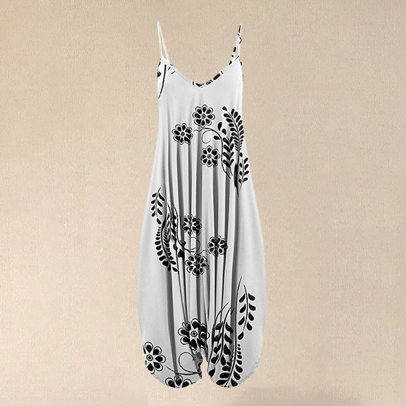 2020 Women Black & White Floral Sleeveless Harem Jumpsuit Spaghetti Fashion Vintage Overall Straps Long Jumpsuit