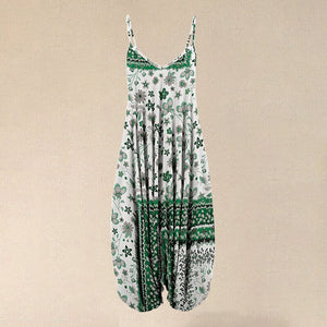 2020 Hot Sale Women White & Green Floral Sleeveless Harem Jumpsuit
