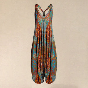 2020 Hot Sale Women Teal & Orange Paisley Racerback Harem Jumpsuit